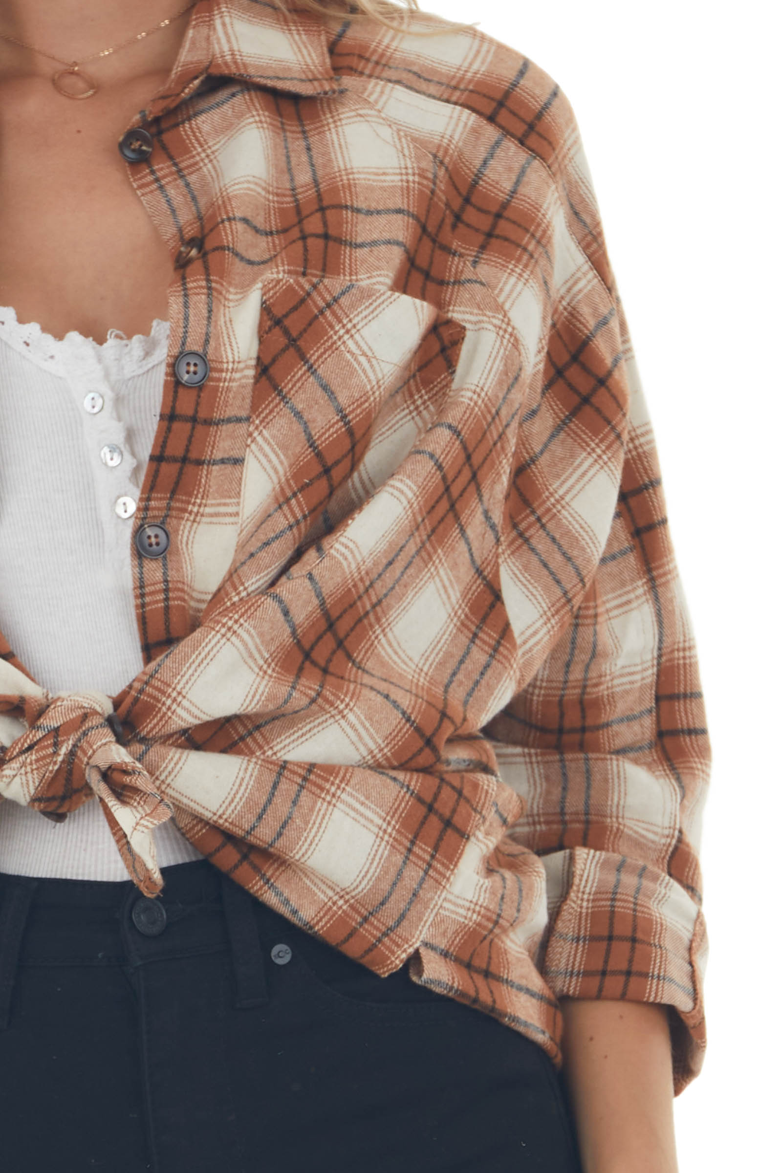 Cognac Plaid Woven Flannel With Chest Pocket
