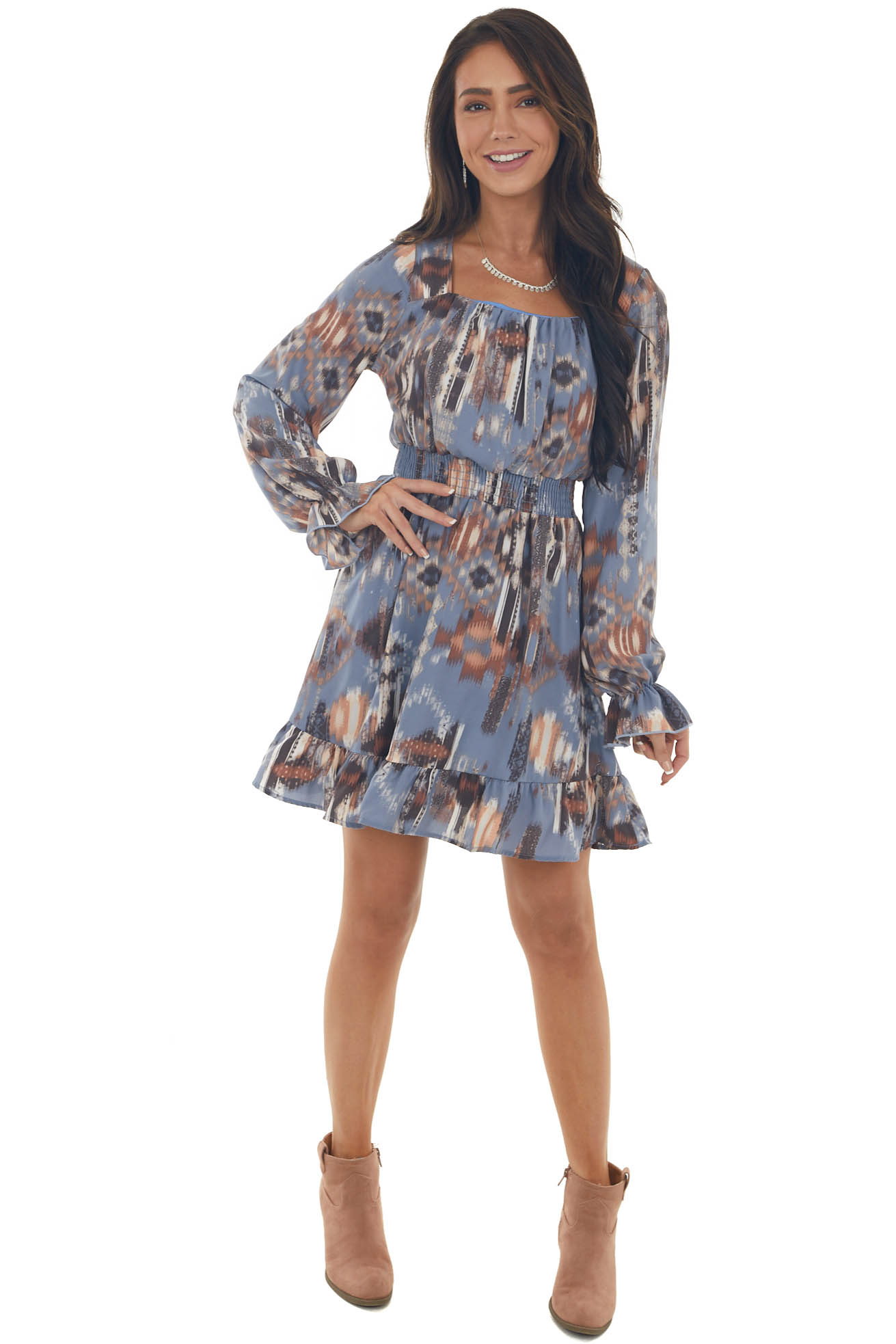Slate Abstract Square Neck Smocked Dress