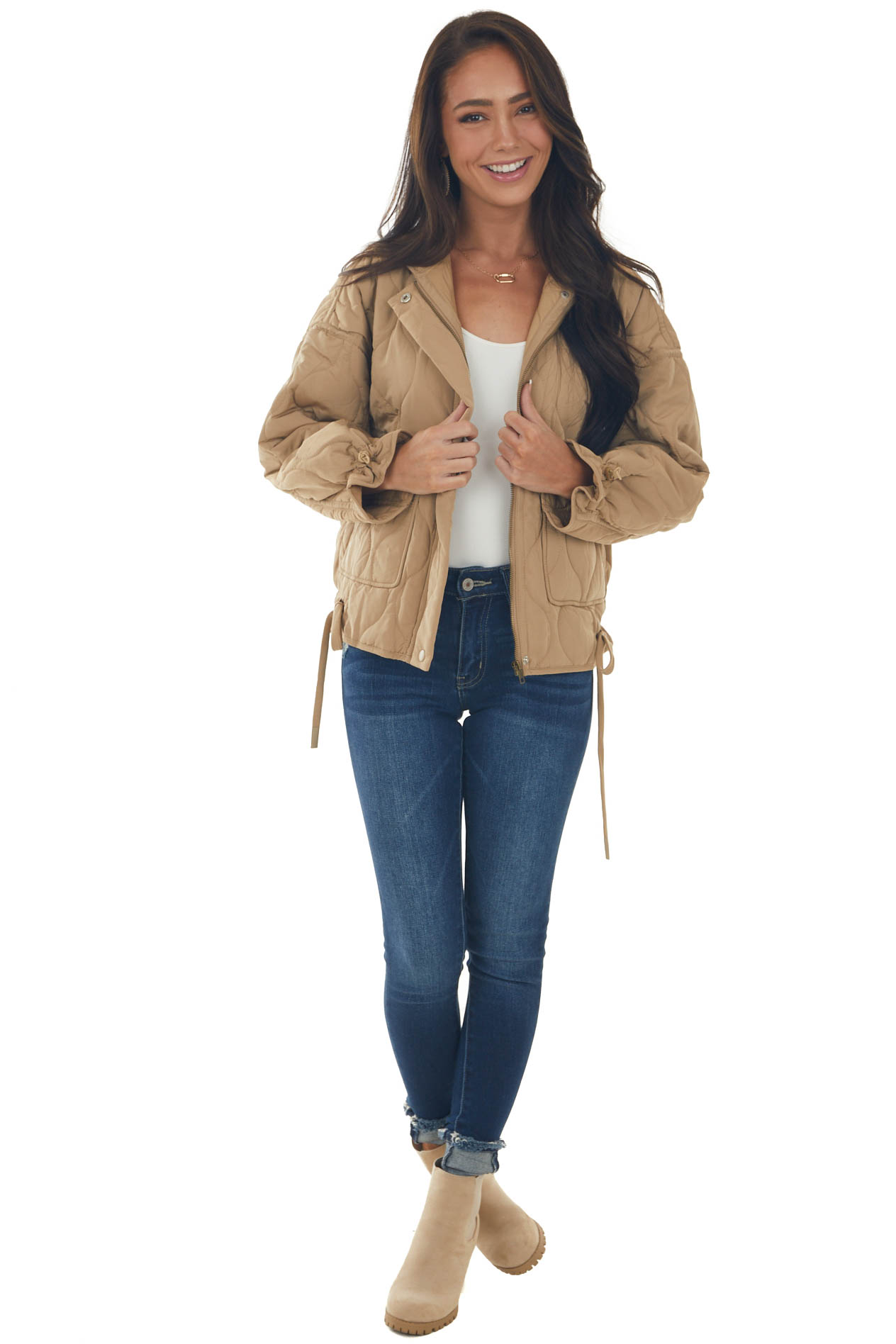 Camel Quilted Jacket with Drawstring Hemline