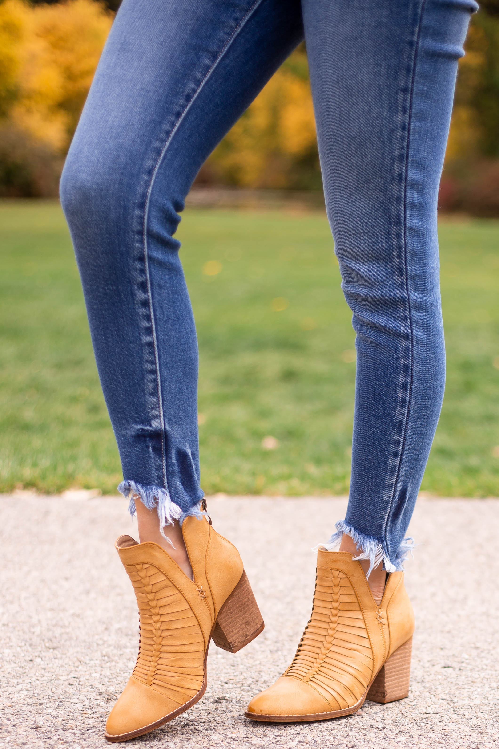 Copper Faux Leather Pointed Toe Heeled Booties