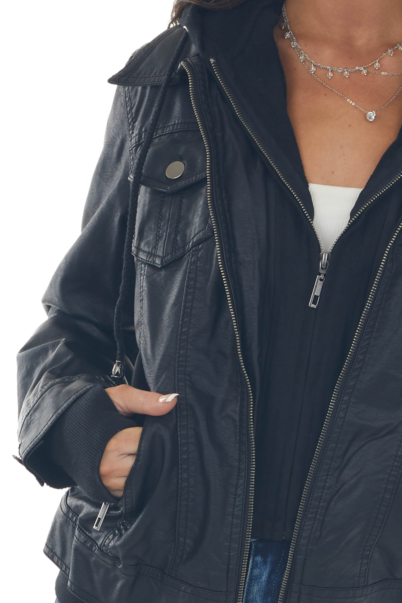 Black Hooded Faux Leather Jacket