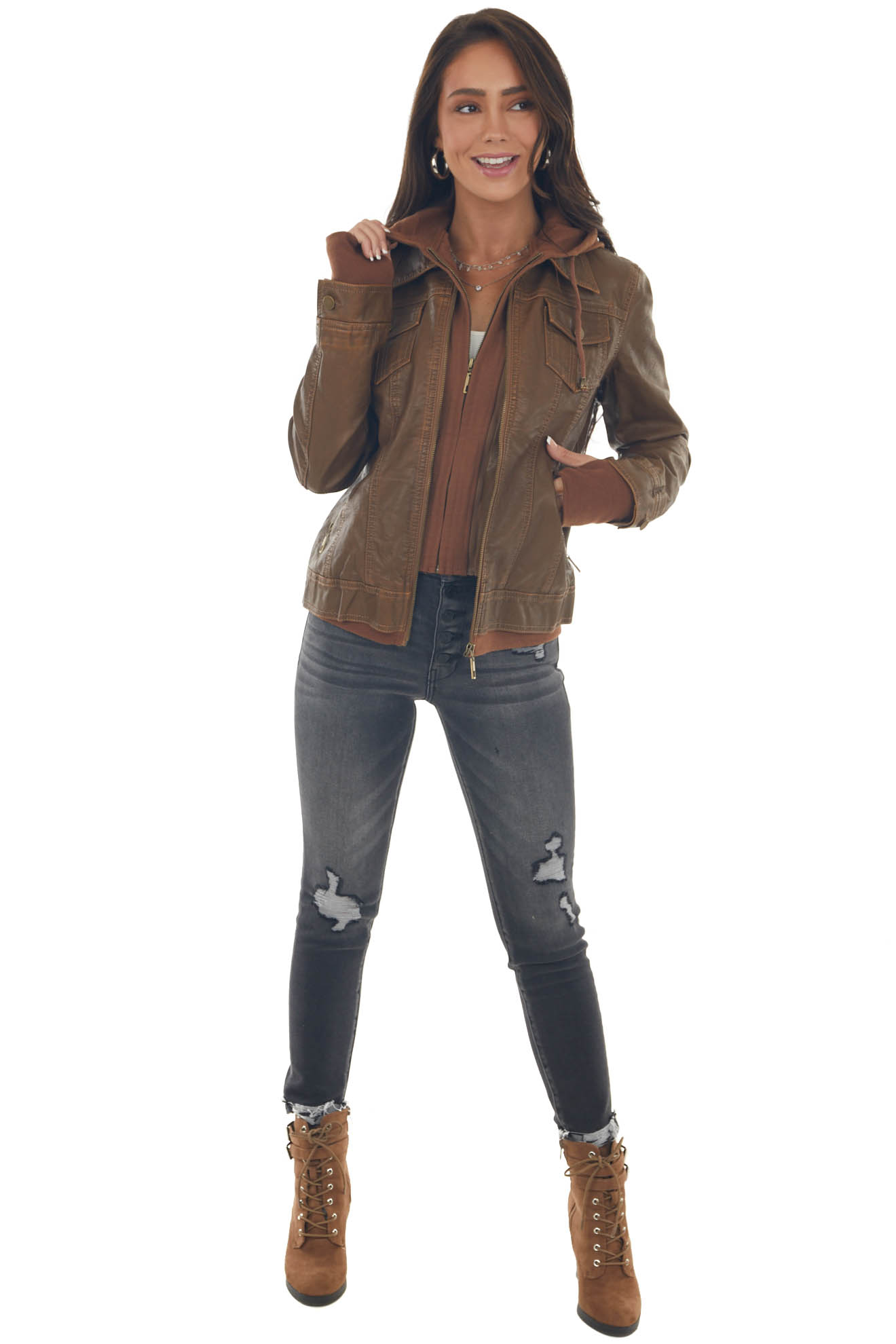 Sepia Hooded Faux Leather Jacket