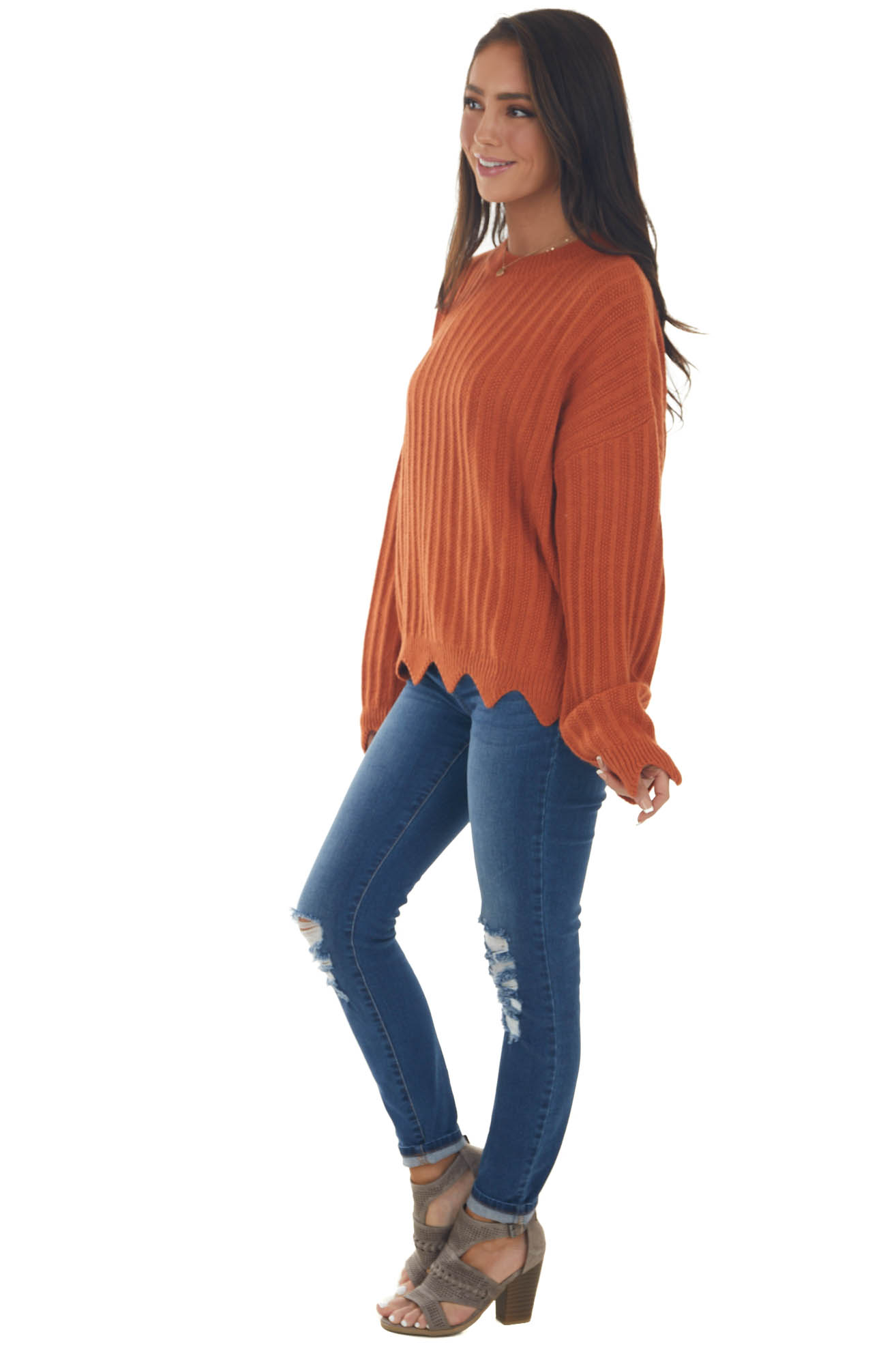 Rust Thick Knit Sweater with Scalloped Hem