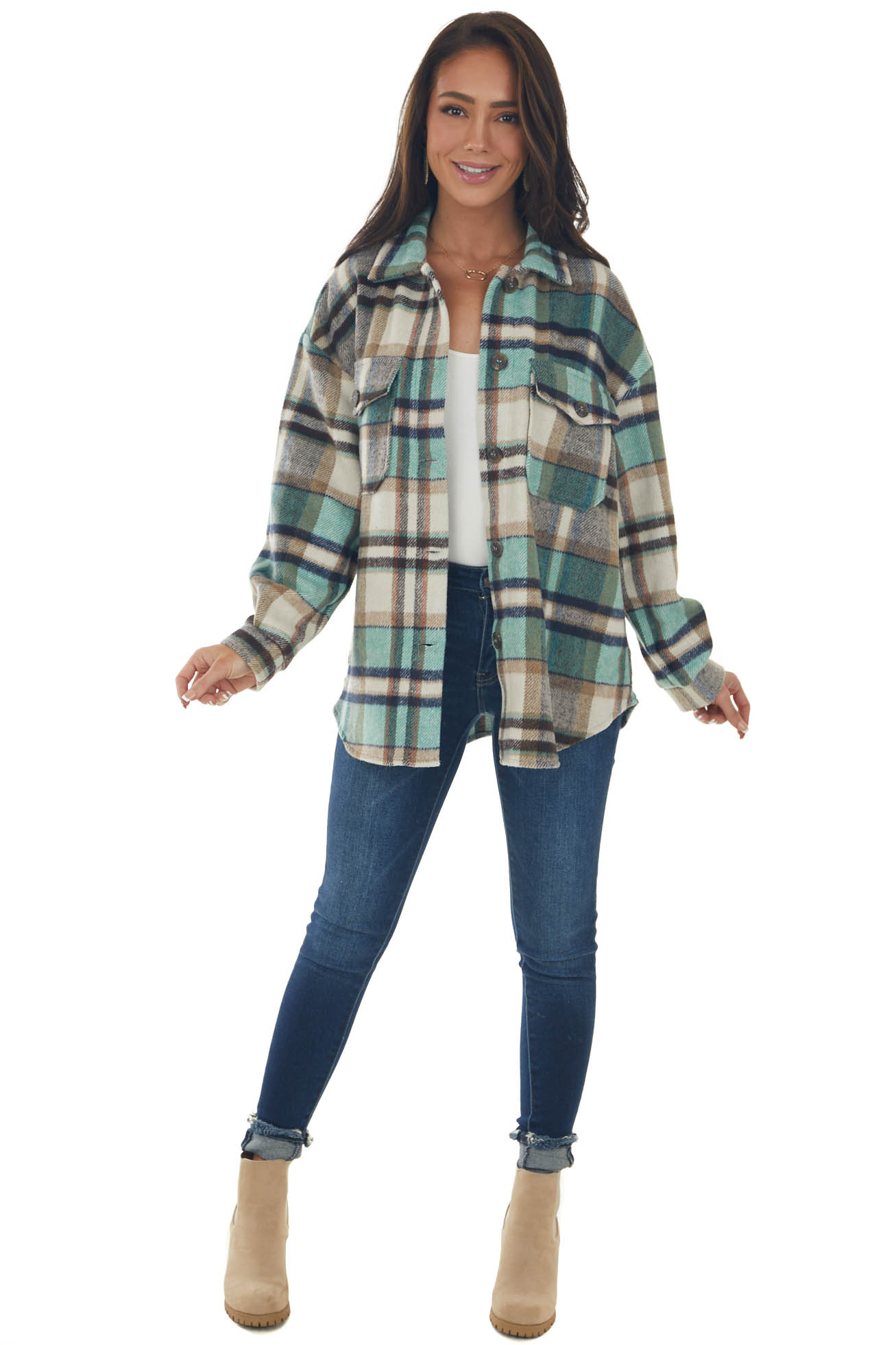 Pine and Vanilla Plaid Button Down Shacket