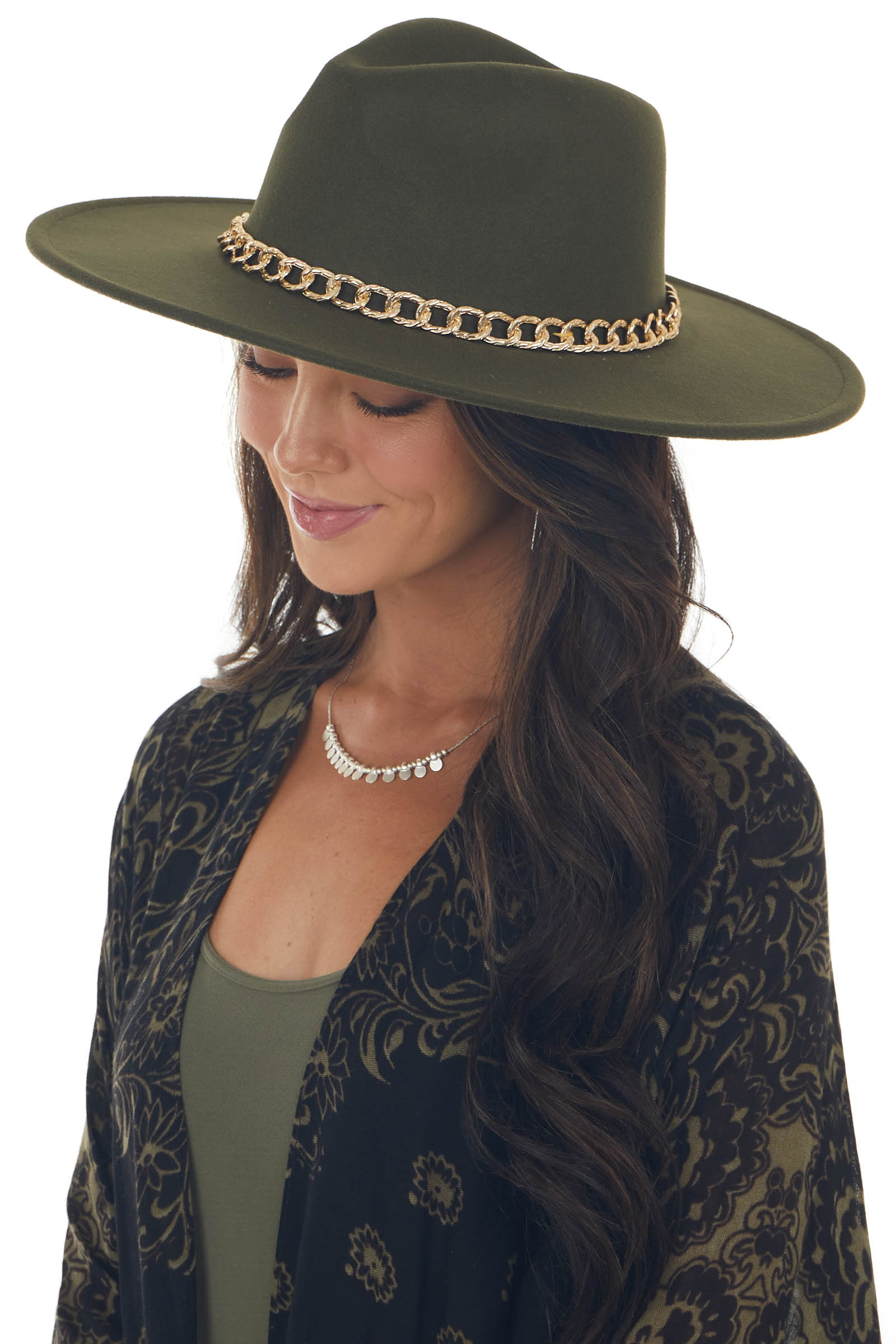 Army Green Wide Brim Felt Hat with Gold Chain