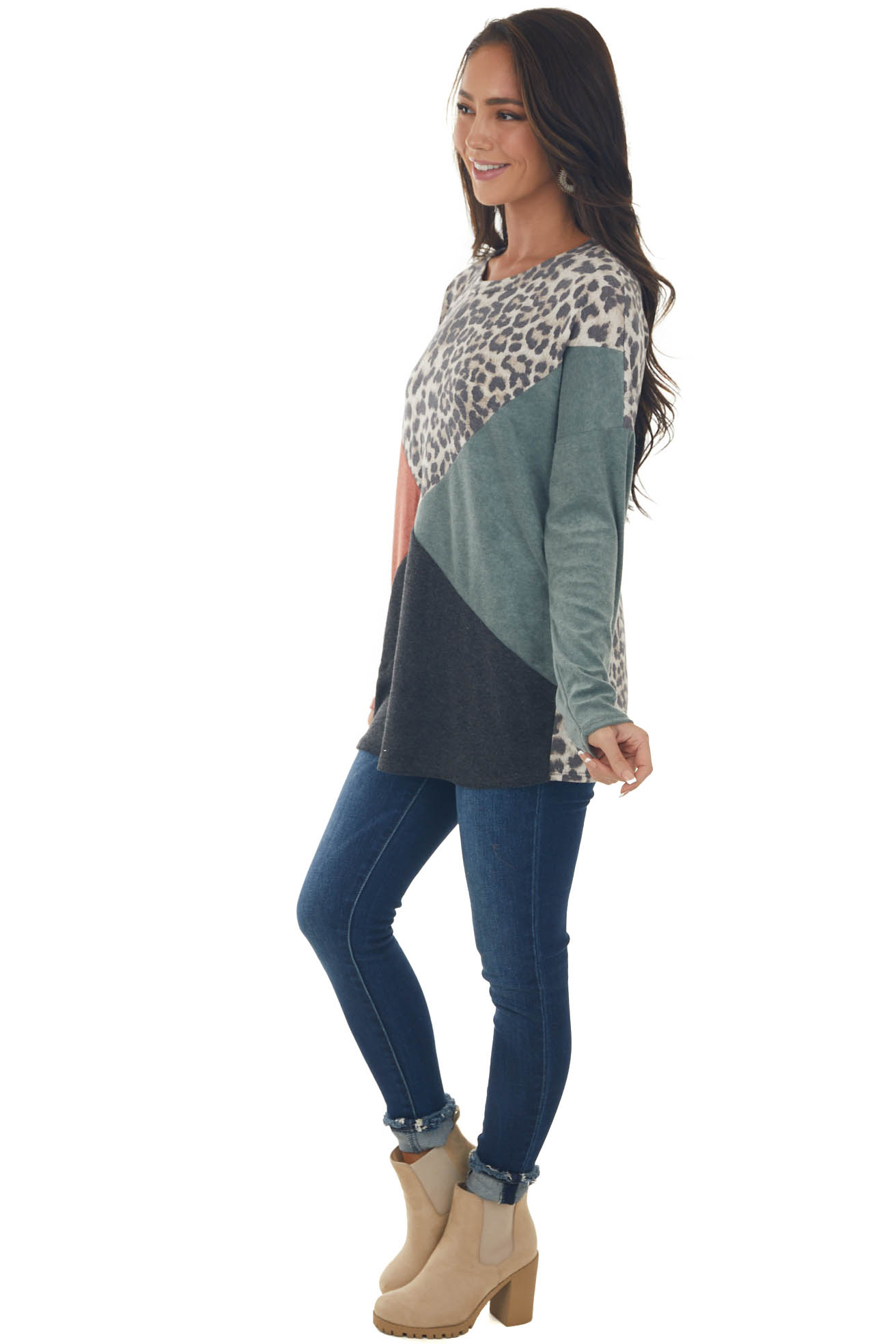 Rust and Leopard Print Colorblock Knit Top