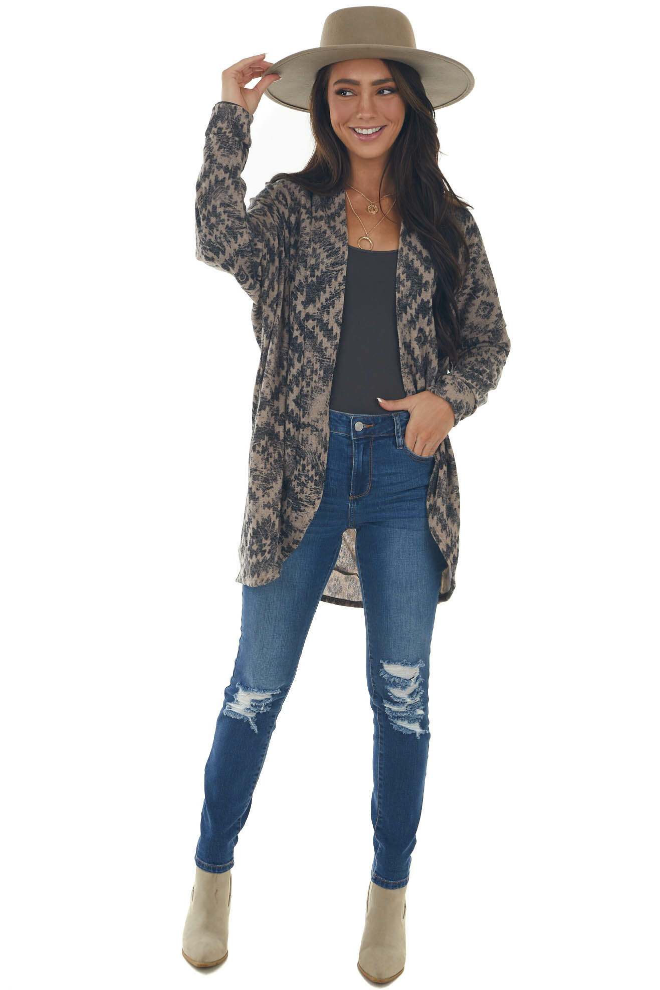 Taupe Aztec Print Cardigan with Banded Trim