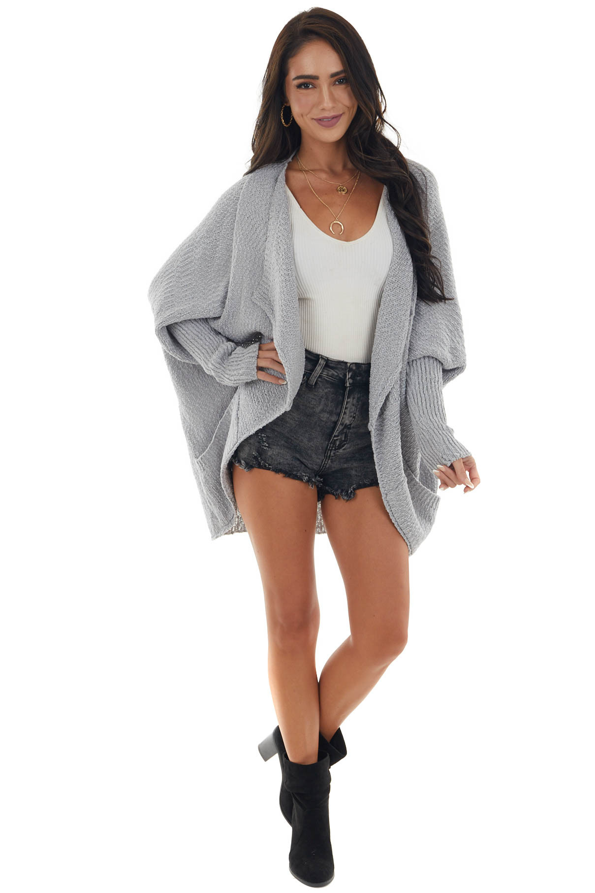 Dove Grey Open Front Cardigan with Long Dolman Sleeves