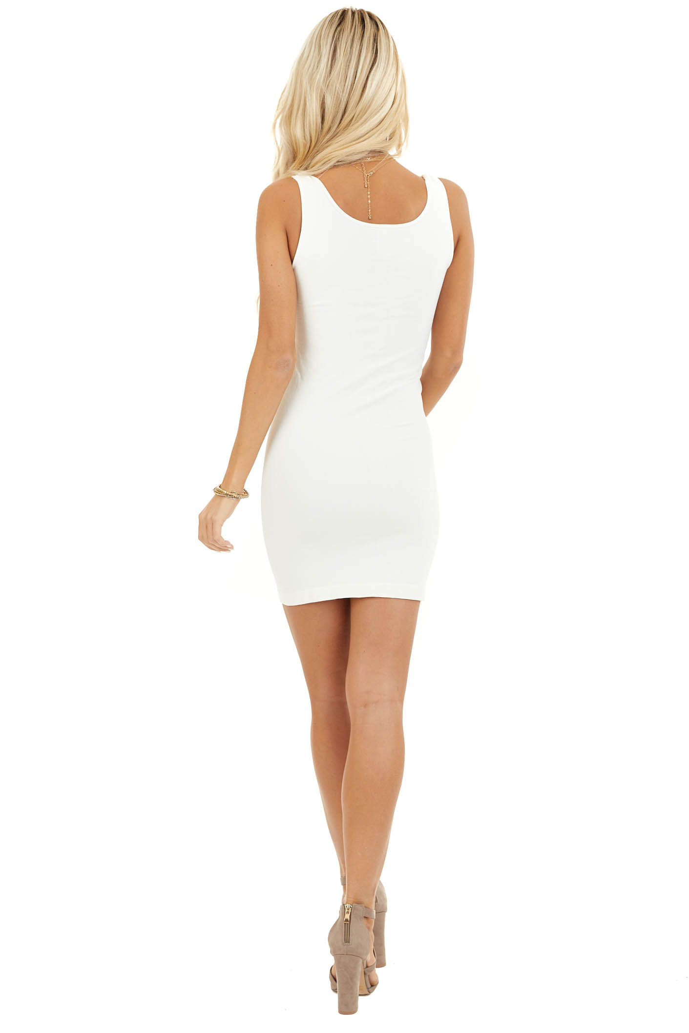 Ivory Seamless Tank Dress Undergarment  back full body