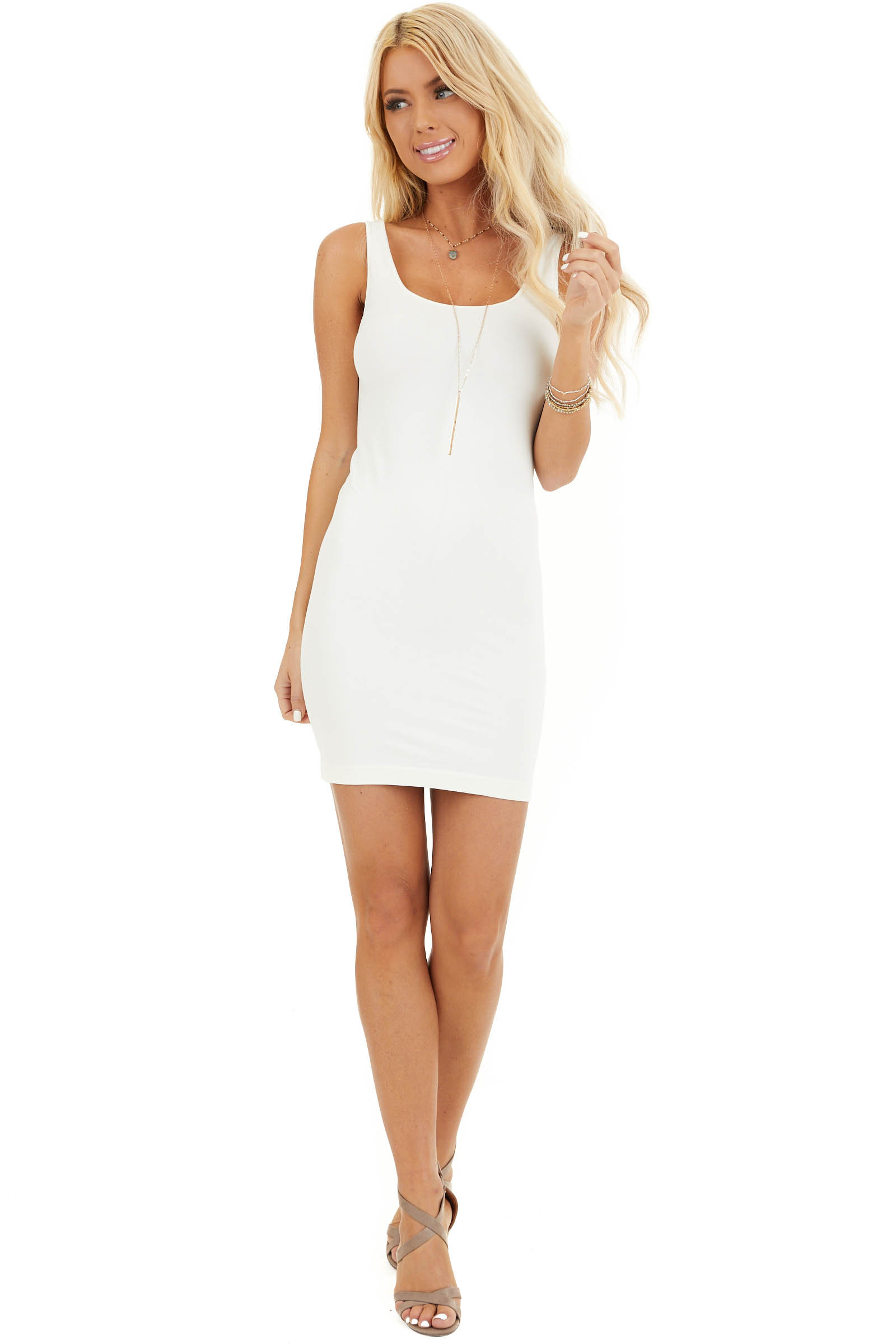 Ivory Seamless Tank Dress Undergarment front full body