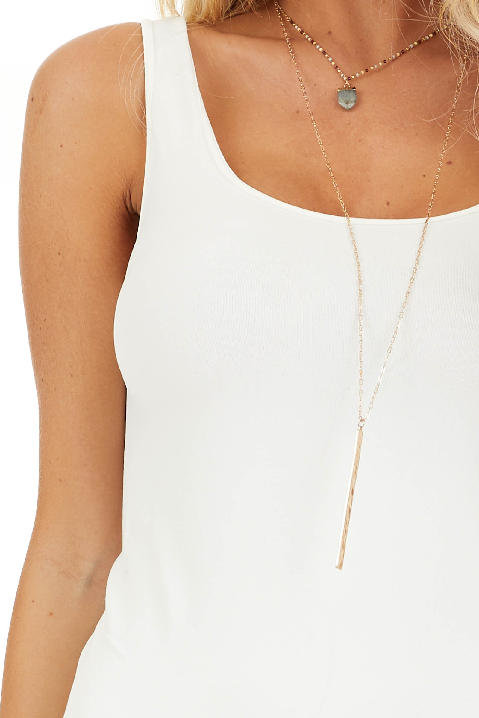Ivory Seamless Tank Dress Undergarment detail