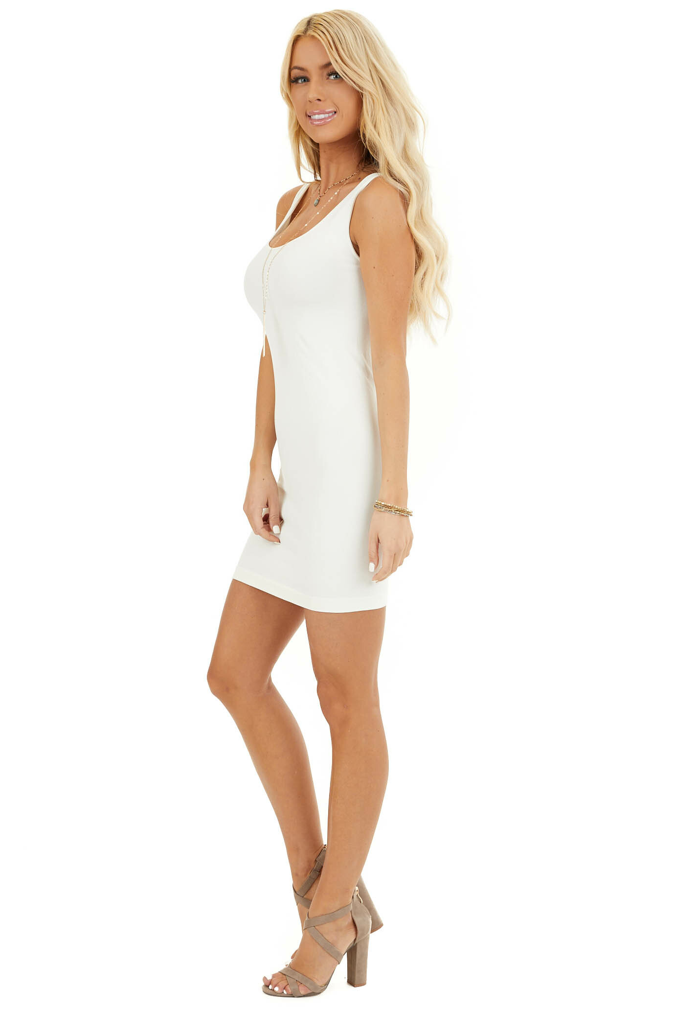 Ivory Seamless Tank Dress Undergarment side full body