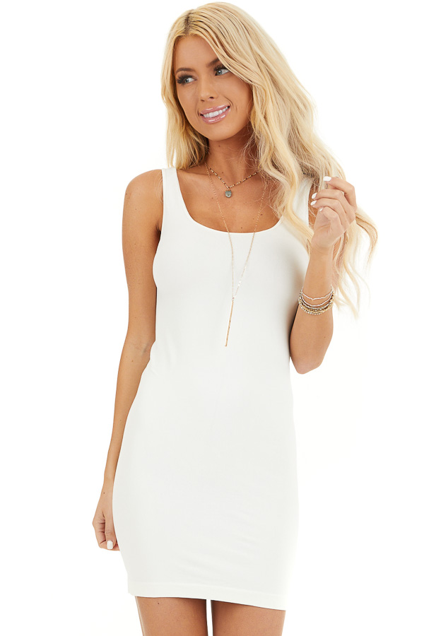 Ivory Seamless Tank Dress Undergarment front close up