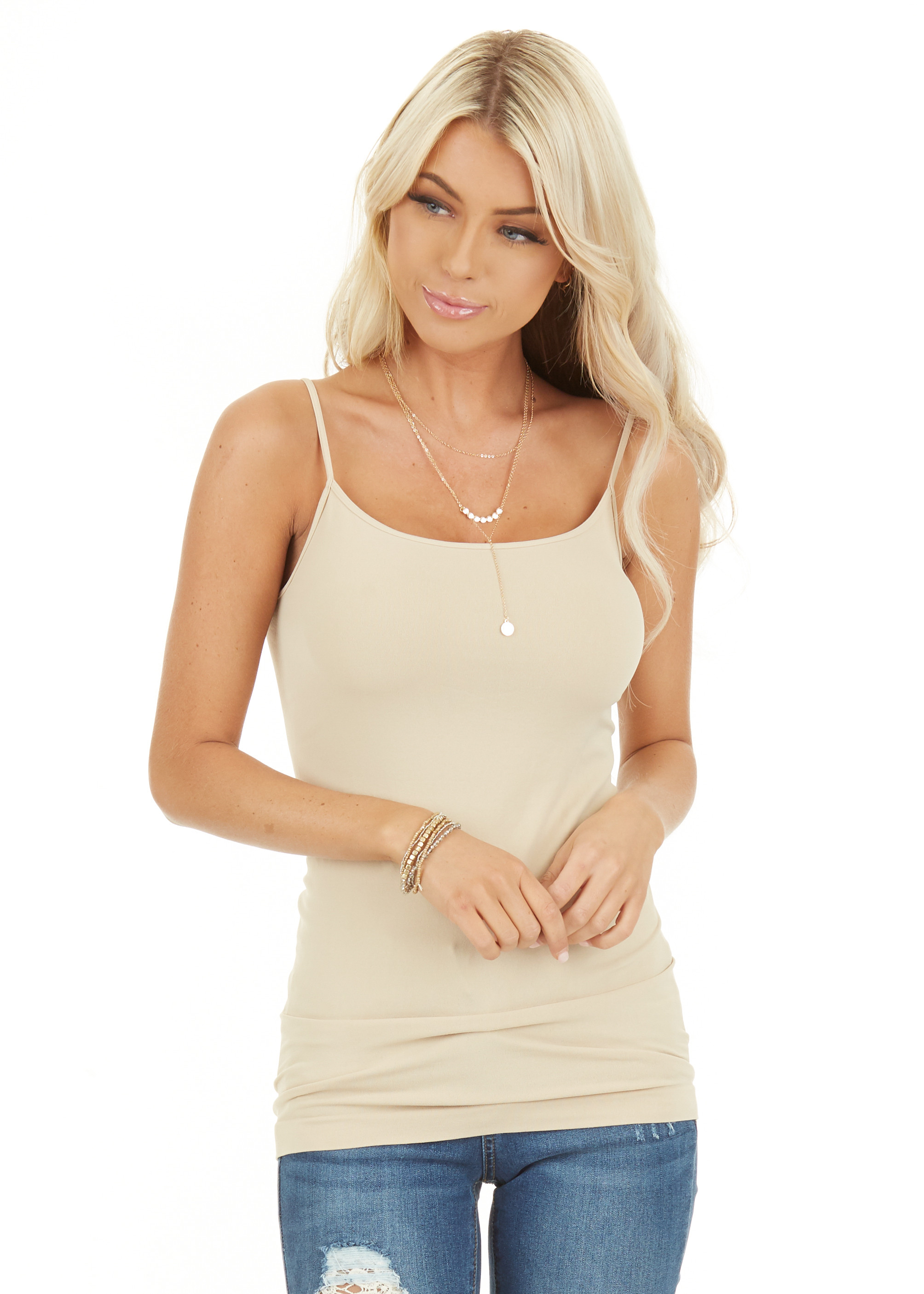 Nude Seamless Long Cami Slip Tank close