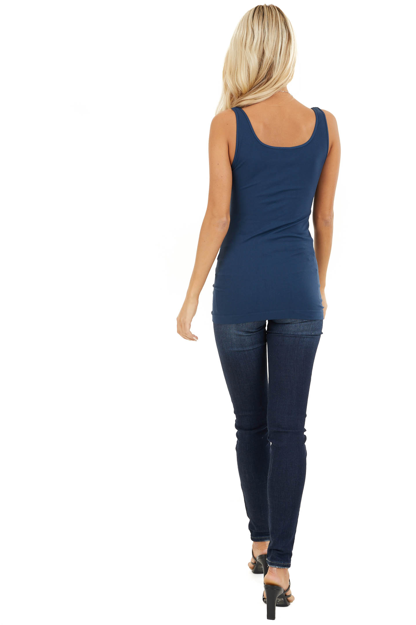 Navy Seamless Long Tank Top back full body