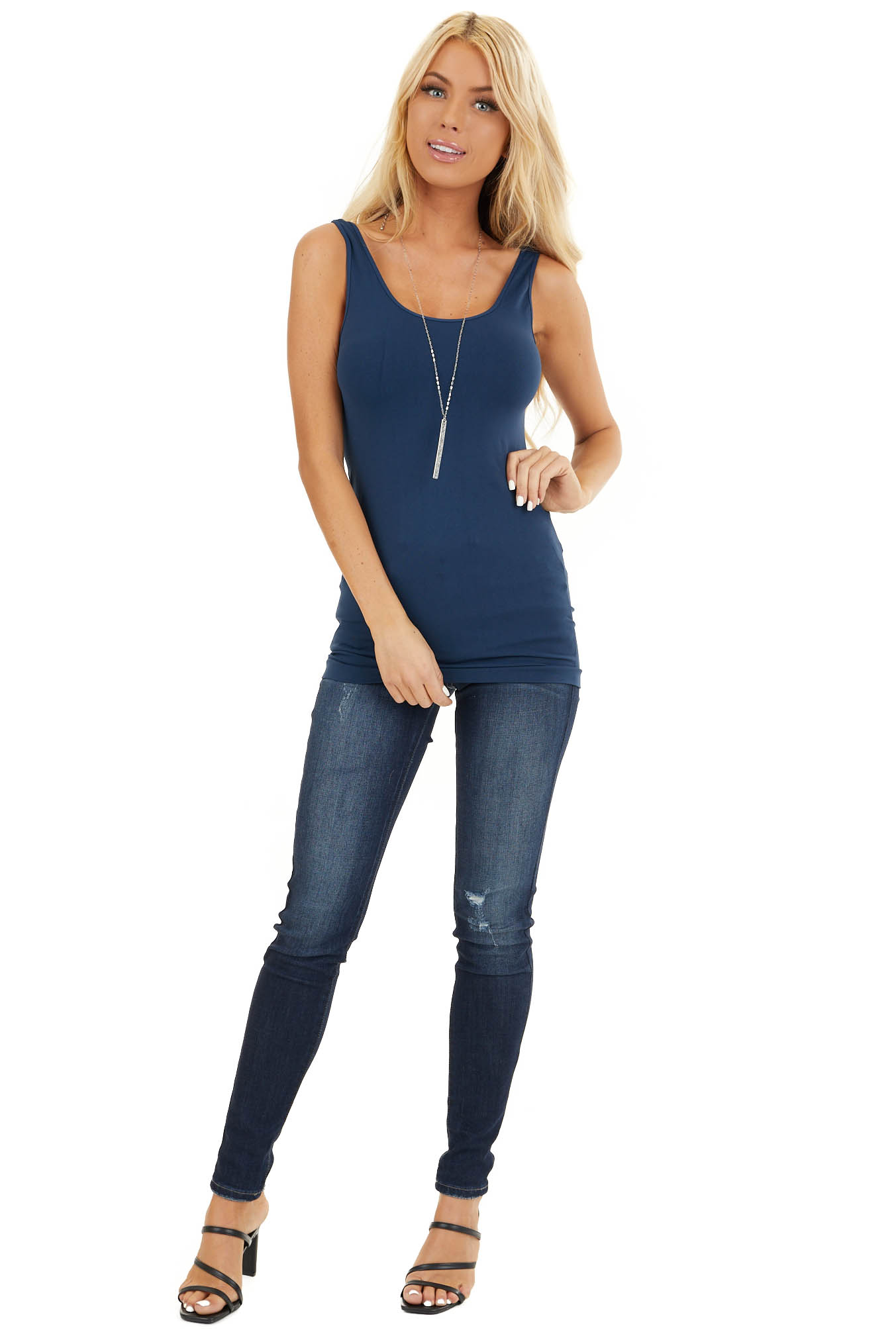 Navy Seamless Long Tank Top front full body
