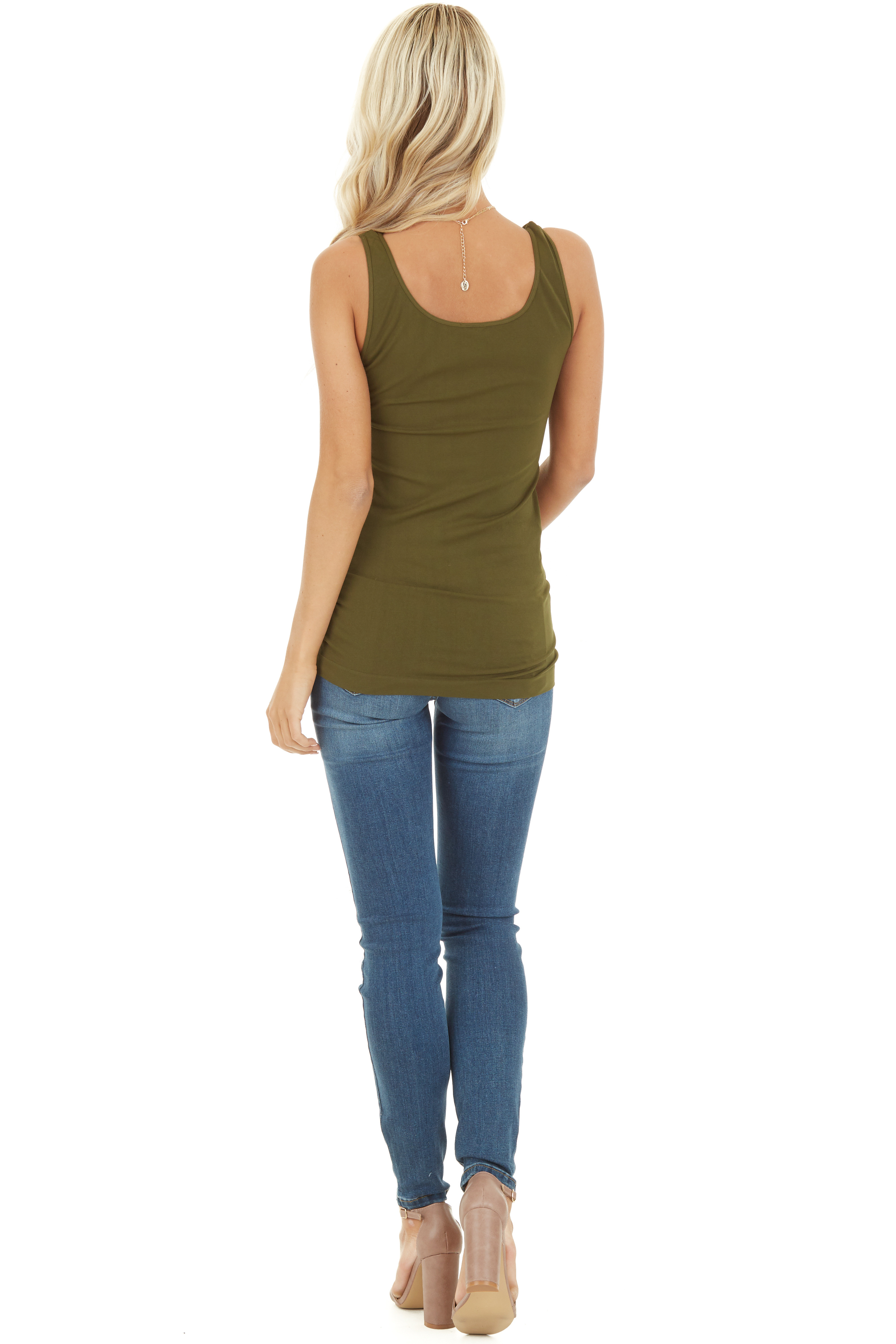 Olive Seamless Long Tank Top back view