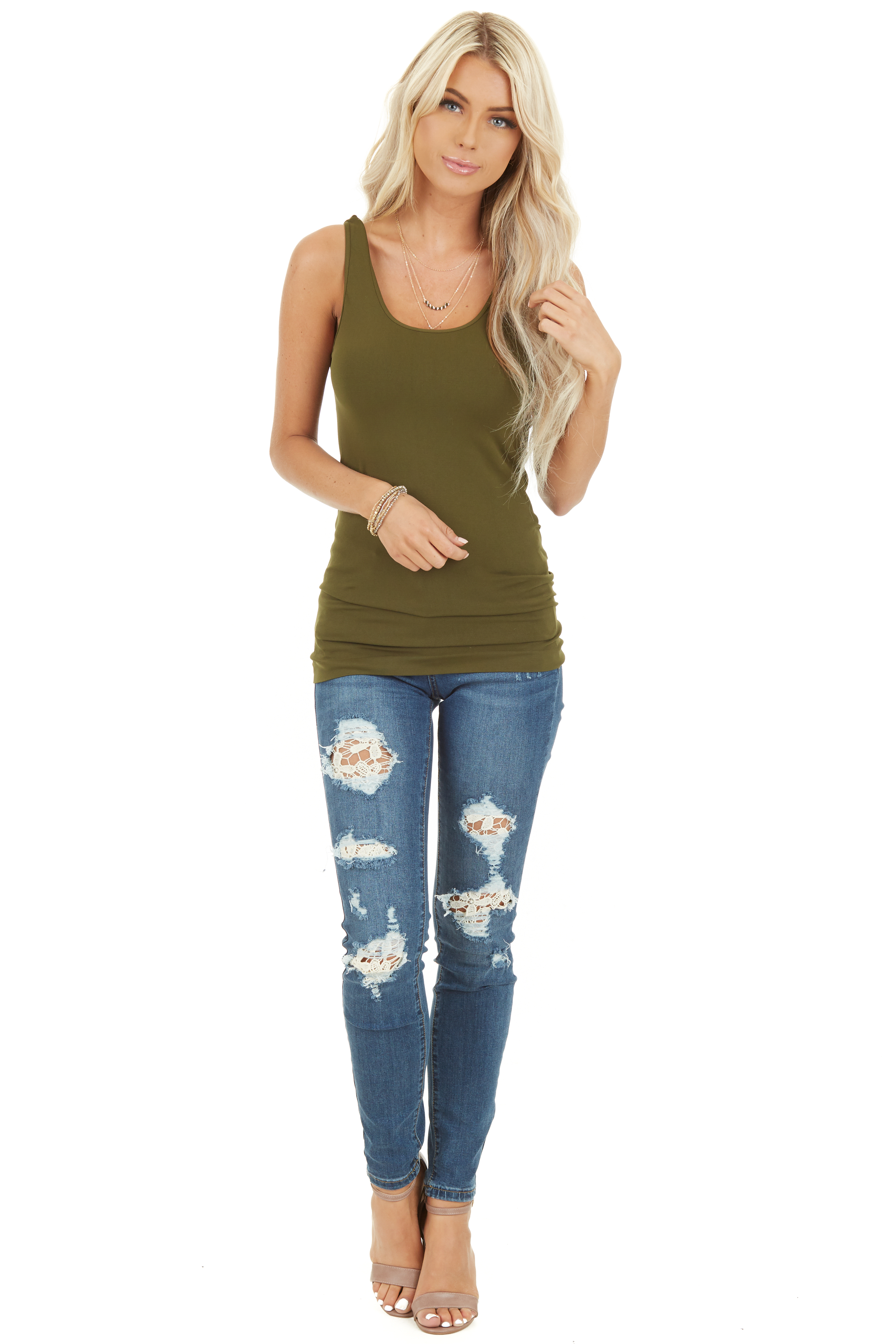 Olive Seamless Long Tank Top front full body