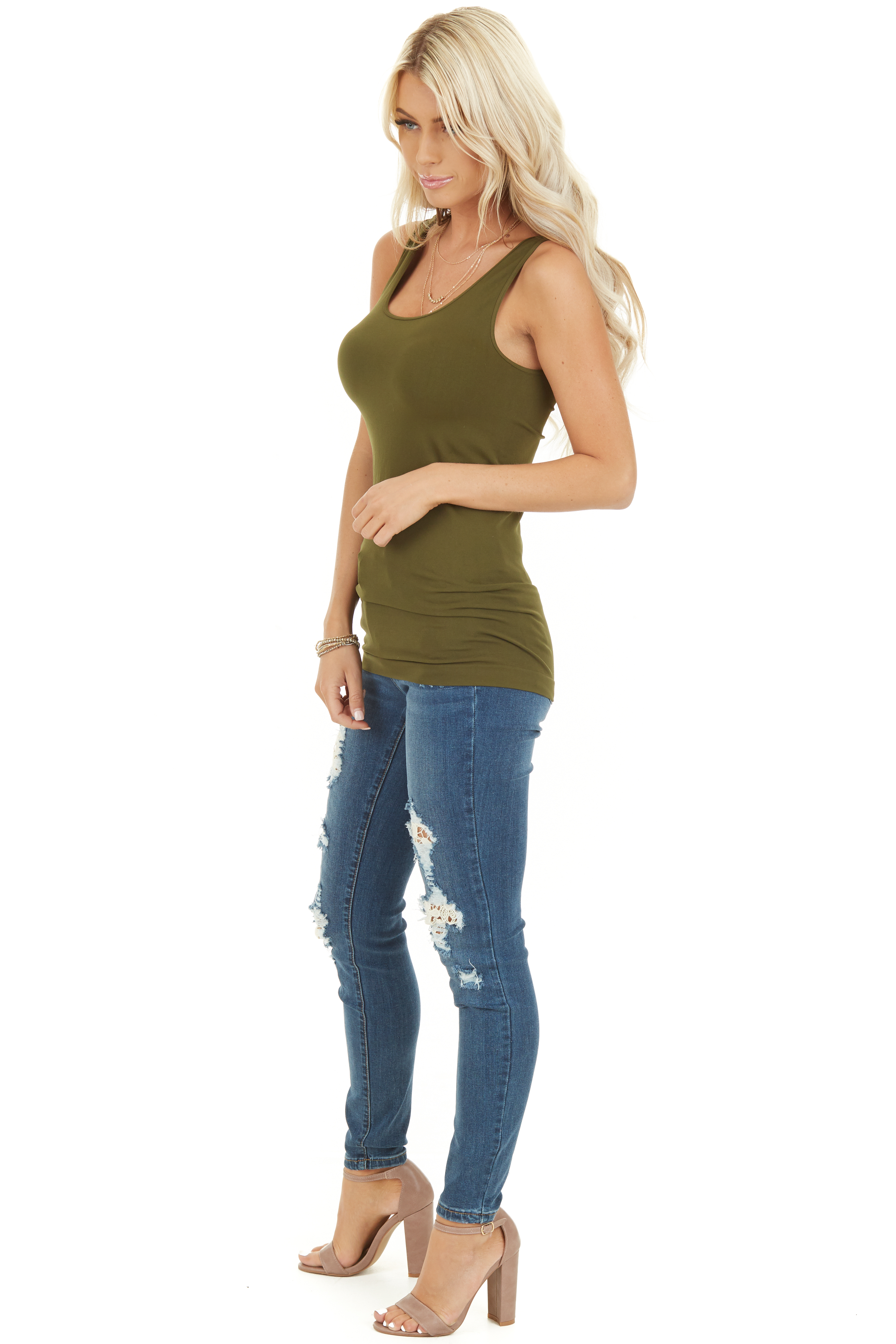 Olive Seamless Long Tank Top side full body