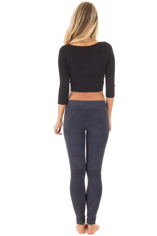 Black Half Sleeve Crop Top back full body
