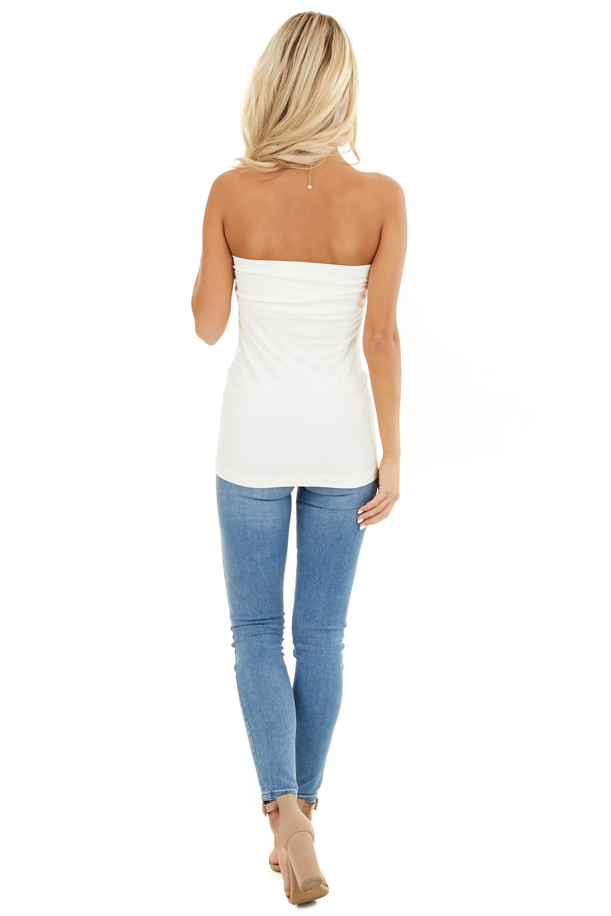 Ivory Ruched Tube Top back full body
