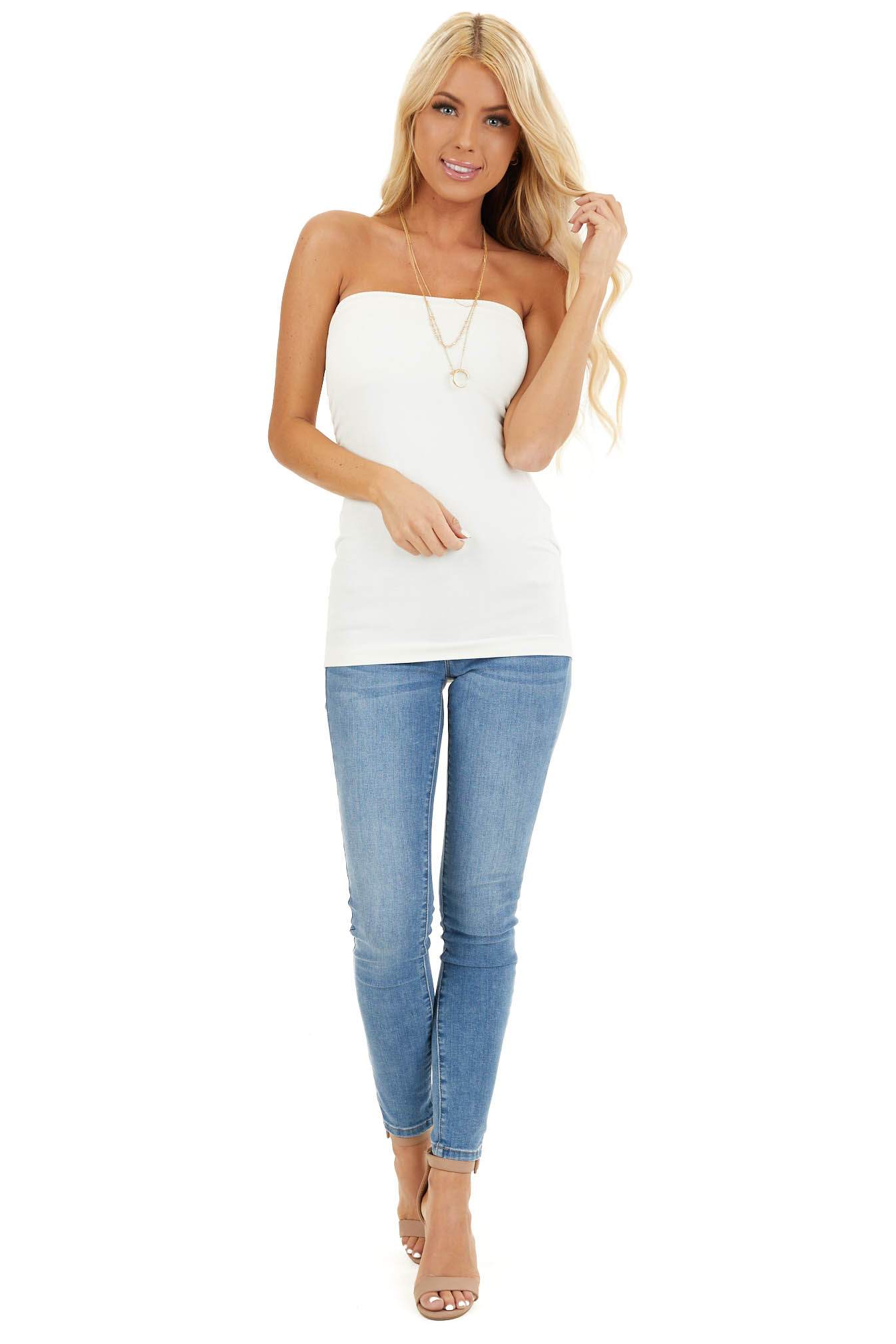 Ivory Ruched Tube Top front full body