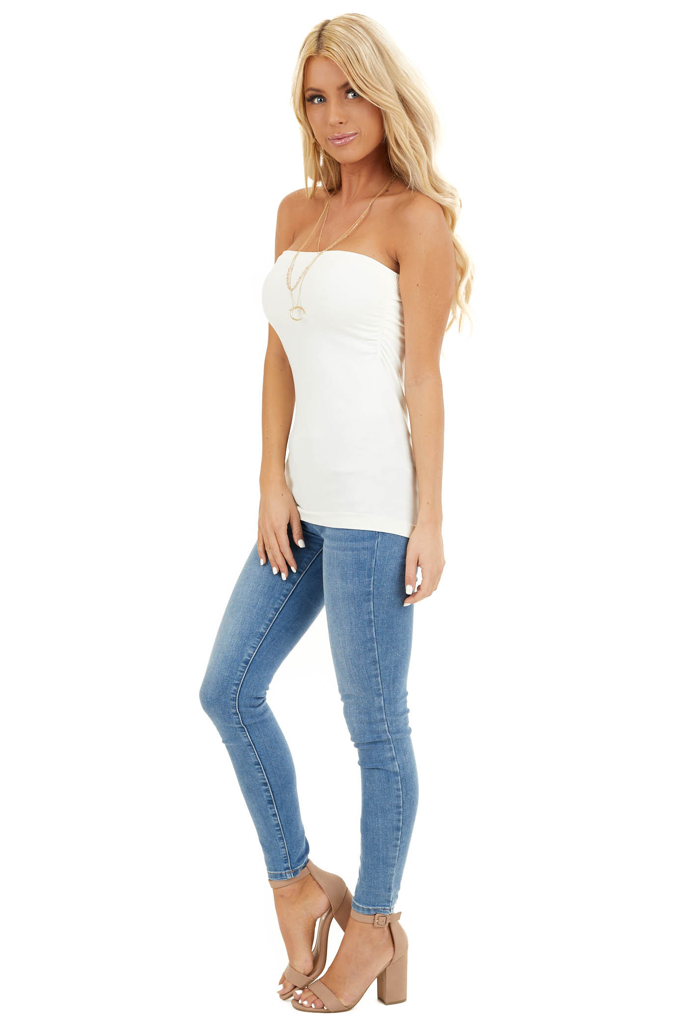 Ivory Ruched Tube Top side full body