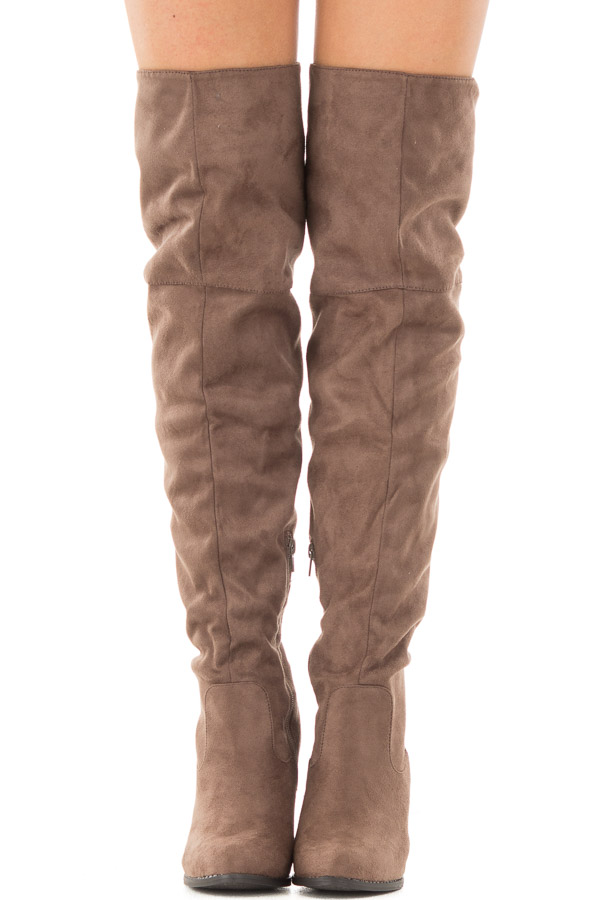 Tan Faux Suede Knee High Boots with Tie Back Detail front view