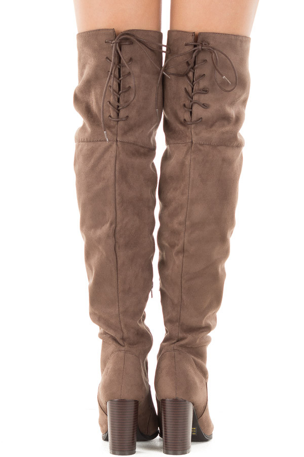Tan Faux Suede Knee High Boots with Tie Back Detail back view