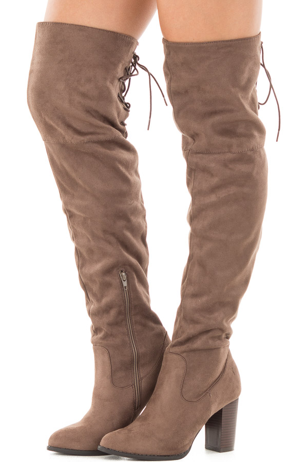 good out x website for discount genuine shoes Tan Faux Suede Knee High Boots with Tie Back Detail