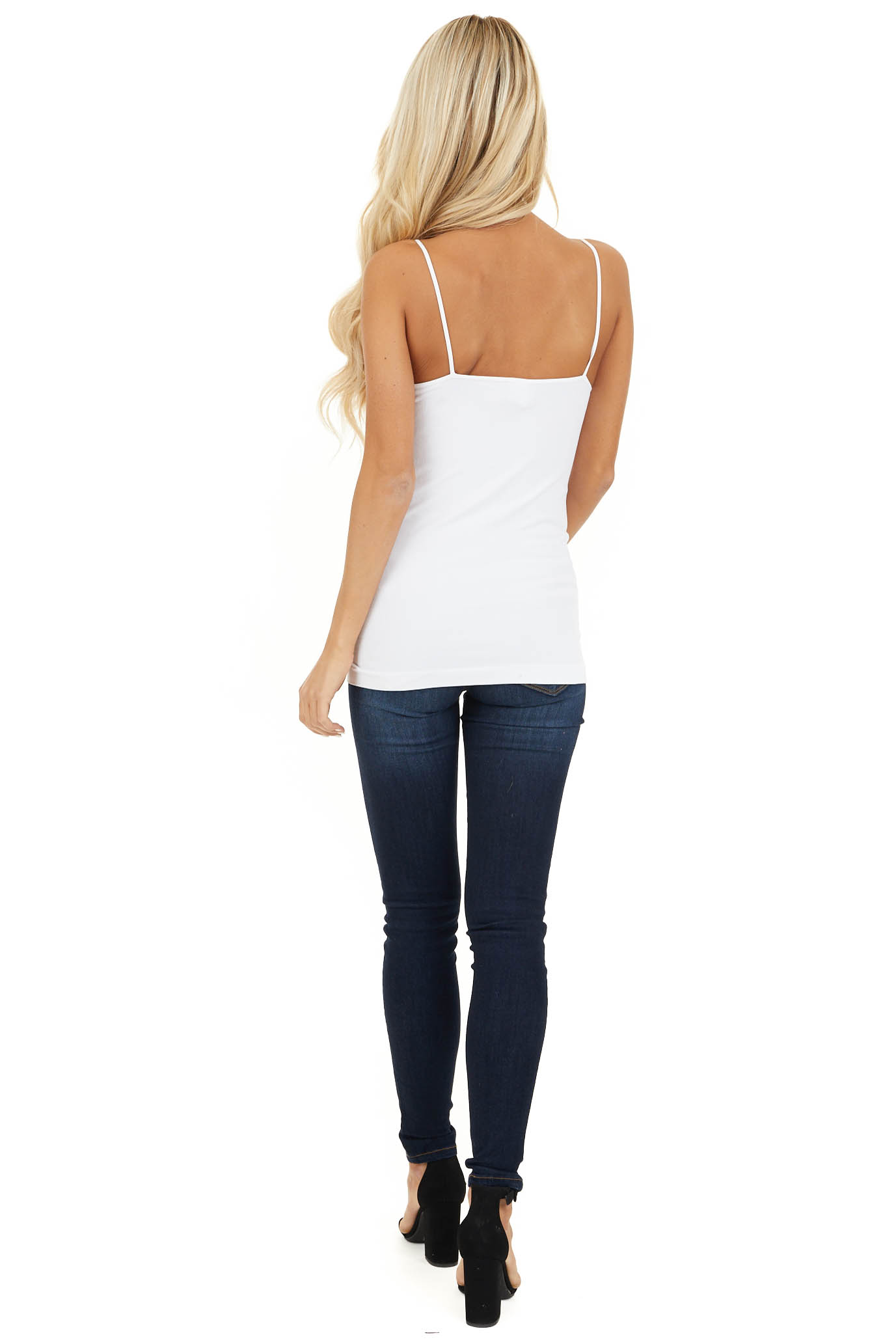 White Criss Cross Strappy Camisole back full body