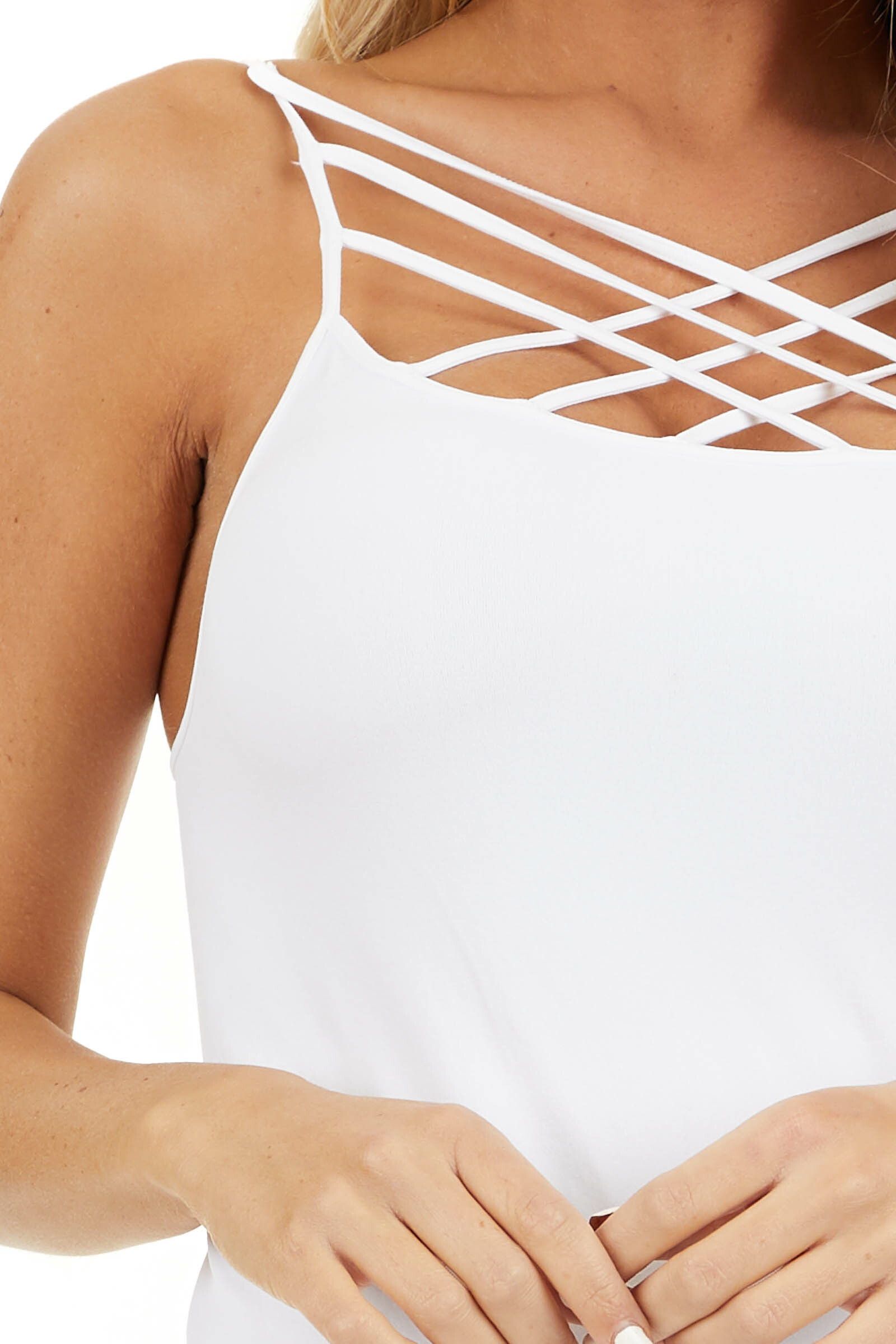 White Criss Cross Strappy Camisole detail