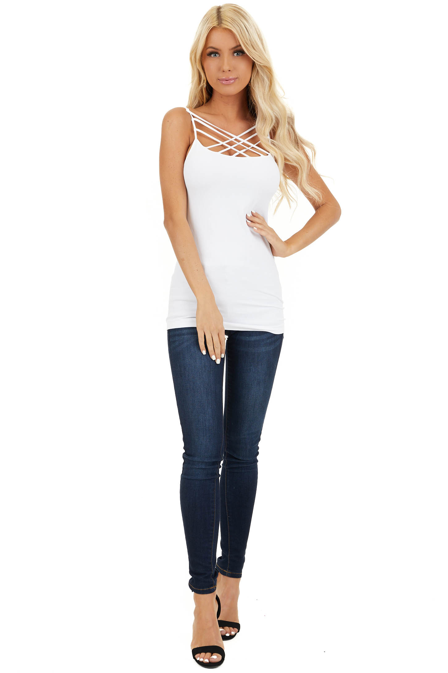White Criss Cross Strappy Camisole front full body