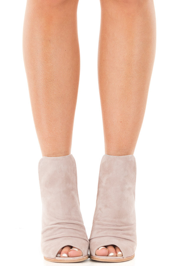 Harbor Grey Suede Open Toe Booties with Cut Out Side Details front view