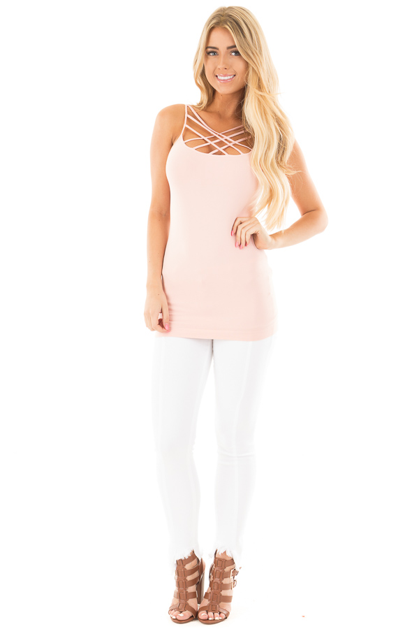 Rose Quartz Criss Cross Strappy Camisole front full body