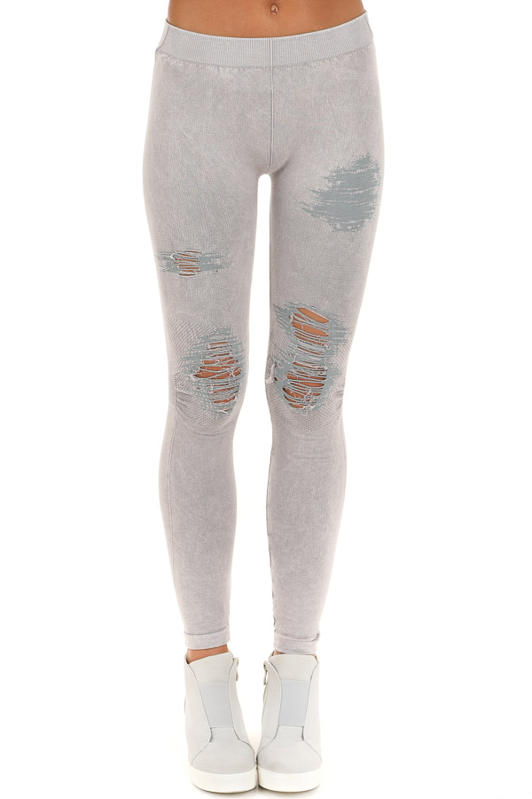 Cool Grey Vintage Destroyed Jeggings front view