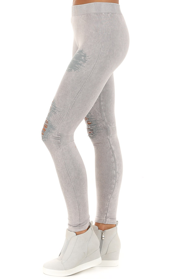 Cool Grey Vintage Destroyed Jeggings side view