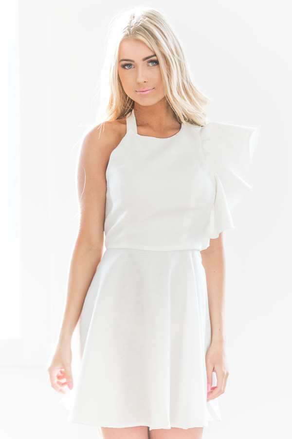 448d5683847 White One Shoulder Ruffle Dress - Lime Lush Boutique
