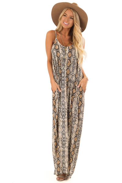 2aa0eb80ba9 Beige Snake Print Maxi Dress with Side Pockets - Lime Lush Boutique
