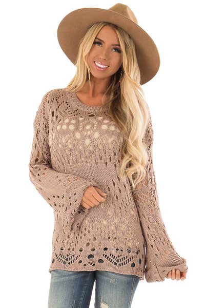 7a37acda97482d Light Mauve Loose Knit Top with Long Bell Sleeves