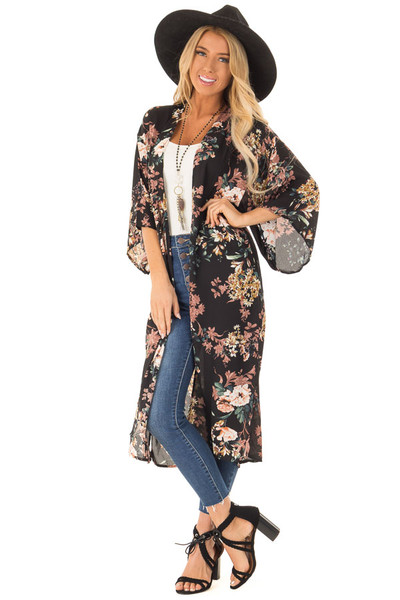 Black Floral Print Kimono Cover Up With Short Sleeves