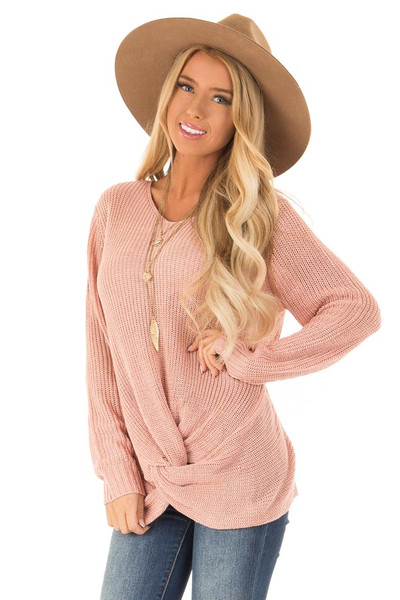 Dusty Salmon Chunky Knit Sweater with Twisted Hemline b10d7d850