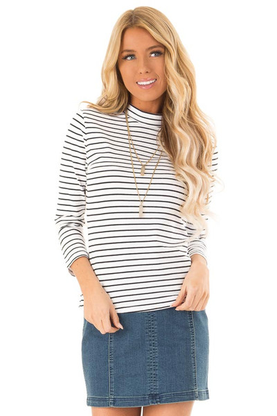 0d2bb74621f6fe Ivory Striped Mock Neck Top with 3 4 Length Sleeves