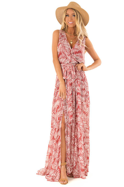 92ef46c2c4 Rust Maxi Dress with Waist Tie and Knee High Slits