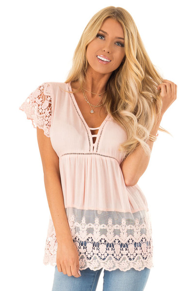 af7483a1b3 Pale Pink V Neck Babydoll Top with Sheer Lace Detail