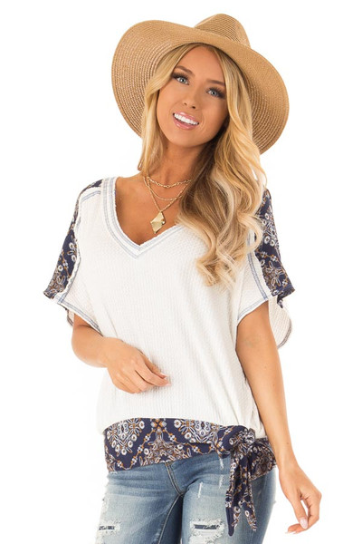 3885dd9dfe Ivory Waffle Knit Top with Navy Floral Print