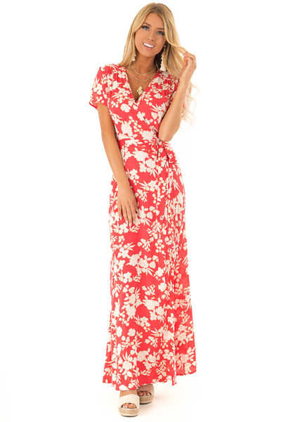 Rose Red and Ivory Floral Print Wrapped Maxi Dress with Tie 50b68c58c