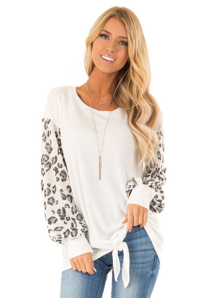 b60b6325f1 Ivory Top with Contrast Leopard Print Balloon Sleeves