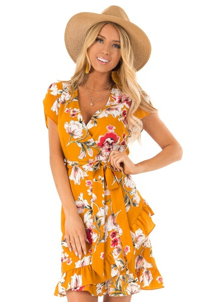 Mustard Floral Print Short Sleeve Dress with Crossover Front 2c1a7f608