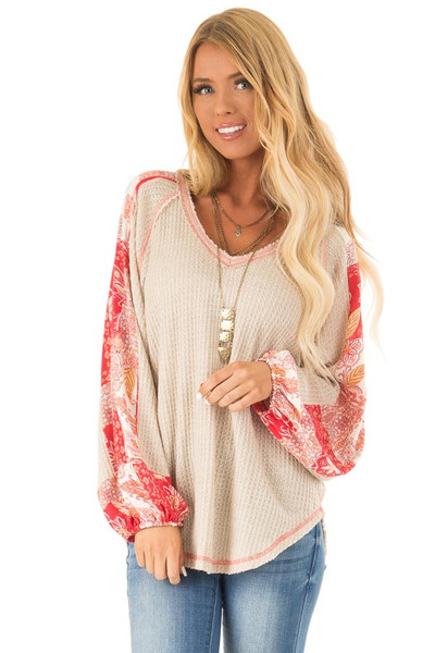 fd71a06b997 Oatmeal Waffle Knit Long Sleeve Top with Floral Contrast